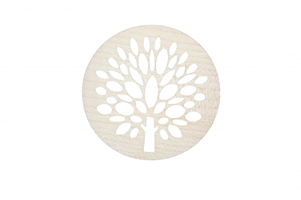 Glasuntersetzer aus Ahornholz Motiv Kerzenbaum