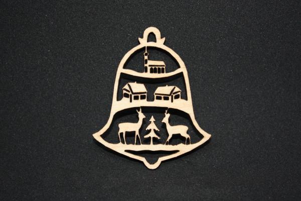 Christbaumschmuck Glocke mit Winterlandschaft